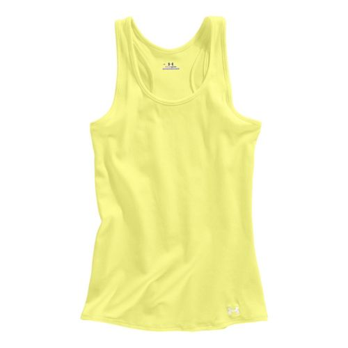 Womens Under Armour Victory Tanks Technical Tops - Sonic Yellow/White L