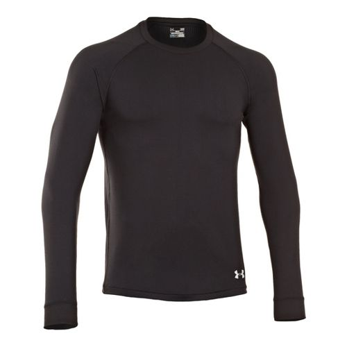 Mens Under Armour Coldgear Infrared Crew Long Sleeve No Zip Technical Tops - Black/Aluminum L ...