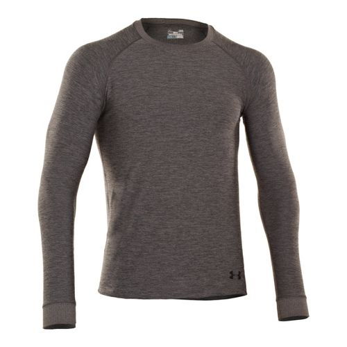Mens Under Armour Coldgear Infrared Crew Long Sleeve No Zip Technical Tops - Carbon ...