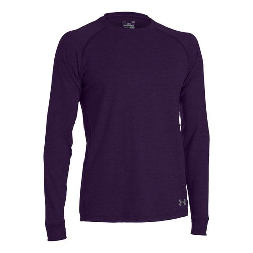 Mens Under Armour Coldgear Infrared Crew Long Sleeve No Zip Technical Tops - Echo/Graphite M ...