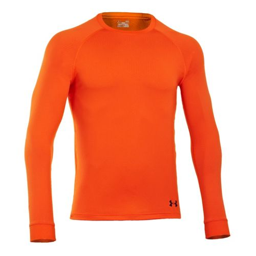 Mens Under Armour Coldgear Infrared Crew Long Sleeve No Zip Technical Tops - Explosive/Cadet M ...