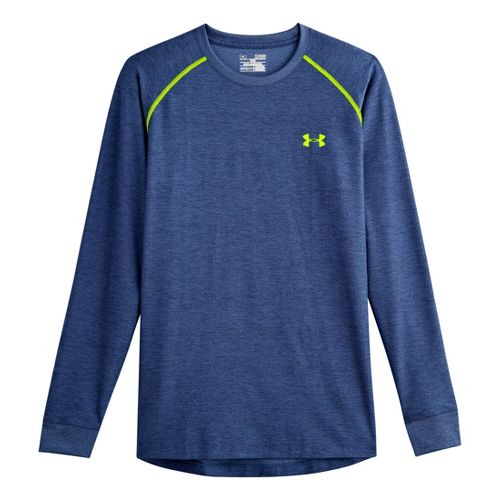 Mens Under Armour Coldgear Infrared Crew Long Sleeve No Zip Technical Tops - Heather Jean/High ...