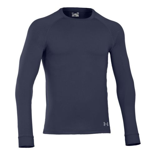 Mens Under Armour Coldgear Infrared Crew Long Sleeve No Zip Technical Tops - Midnight ...
