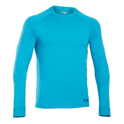 Mens Under Armour Coldgear Infrared Crew Long Sleeve No Zip Technical Tops - Pirate Blue/Wham ...