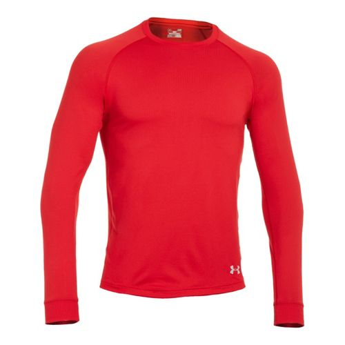 Mens Under Armour Coldgear Infrared Crew Long Sleeve No Zip Technical Tops - Red/Aluminum XXL ...