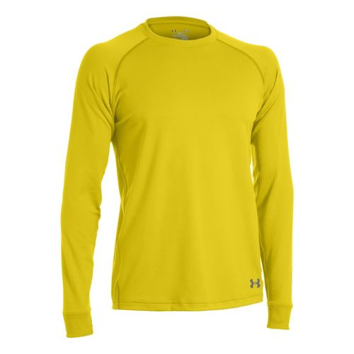 Mens Under Armour Coldgear Infrared Crew Long Sleeve No Zip Technical Tops - Solar/Graphite M ...