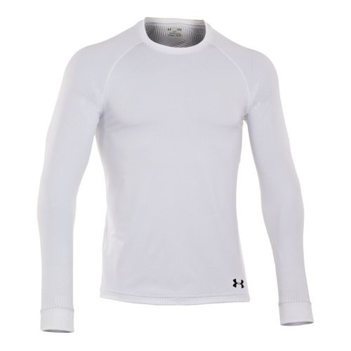 Mens Under Armour Coldgear Infrared Crew Long Sleeve No Zip Technical Tops - White/Black L ...