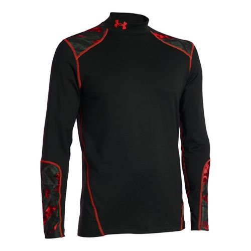 Mens Under Armour Coldgear Infrared Evo Mock Long Sleeve No Zip Technical Tops - Black/Red ...