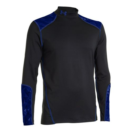 Mens Under Armour Coldgear Infrared Evo Mock Long Sleeve No Zip Technical Tops - Black/Royal ...