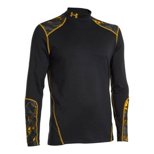 Mens Under Armour Coldgear Infrared Evo Mock Long Sleeve No Zip Technical Tops - ...