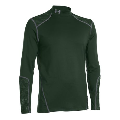 Mens Under Armour Coldgear Infrared Evo Mock Long Sleeve No Zip Technical Tops - Forest ...