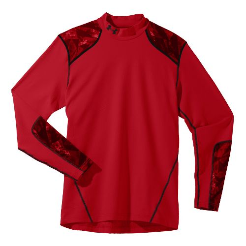 Mens Under Armour Coldgear Infrared Evo Mock Long Sleeve No Zip Technical Tops - Red/Black ...