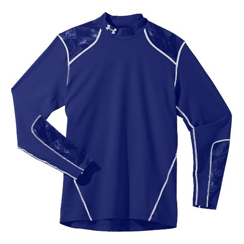 Mens Under Armour Coldgear Infrared Evo Mock Long Sleeve No Zip Technical Tops - Royal/White ...