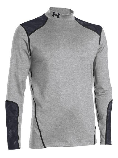 Mens Under Armour Coldgear Infrared Evo Mock Long Sleeve No Zip Technical Tops - True Grey ...