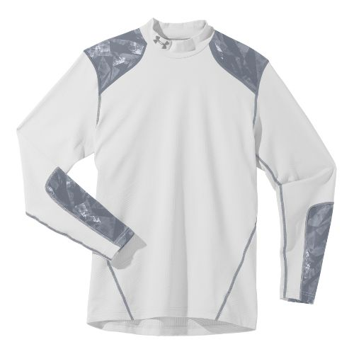 Mens Under Armour Coldgear Infrared Evo Mock Long Sleeve No Zip Technical Tops - White/Graphite ...