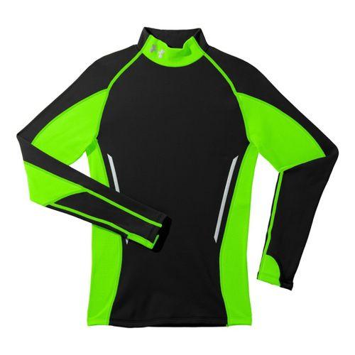 Mens Under Armour Coldgear Armour Stretch Mock Long Sleeve No Zip Technical Tops - Black/Hyper ...