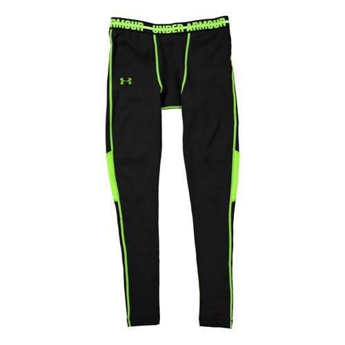 Mens Under Armour Coldgear Armour Stretch Leggings Fitted Tights - Black/Hyper Green XL