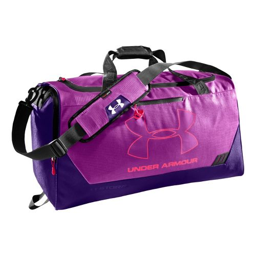 Under Armour Hustle MD Duffel Bags - Strobe/Purple Rain