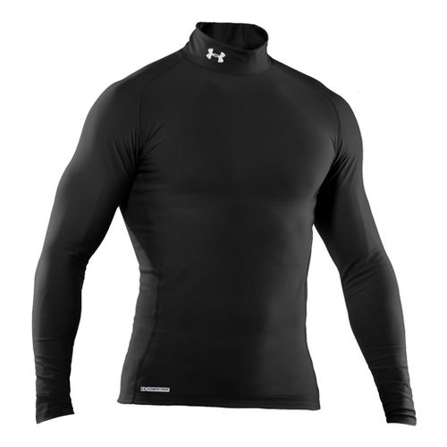 Mens Under Armour EVO Coldgear Compression Mock Long Sleeve No Zip Technical Tops - Black/Black ...
