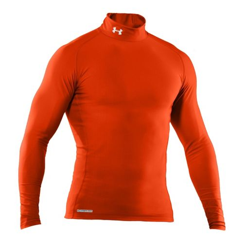 Mens Under Armour EVO Coldgear Compression Mock Long Sleeve No Zip Technical Tops - Dark ...