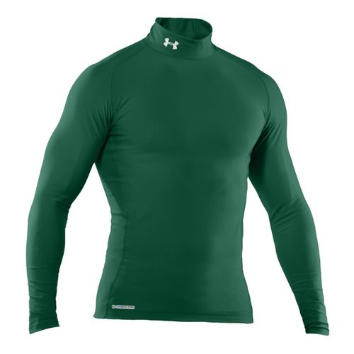 Mens Under Armour EVO Coldgear Compression Mock Long Sleeve No Zip Technical Tops - Forest ...