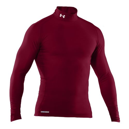 Mens Under Armour EVO Coldgear Compression Mock Long Sleeve No Zip Technical Tops - ...