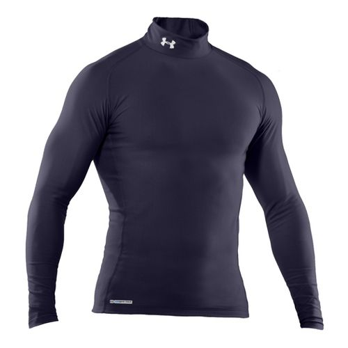 Mens Under Armour EVO Coldgear Compression Mock Long Sleeve No Zip Technical Tops - Midnight ...