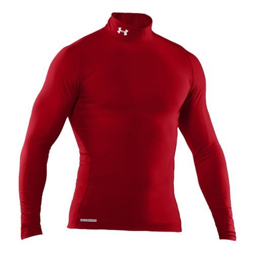 Mens Under Armour EVO Coldgear Compression Mock Long Sleeve No Zip Technical Tops - Red/Red ...