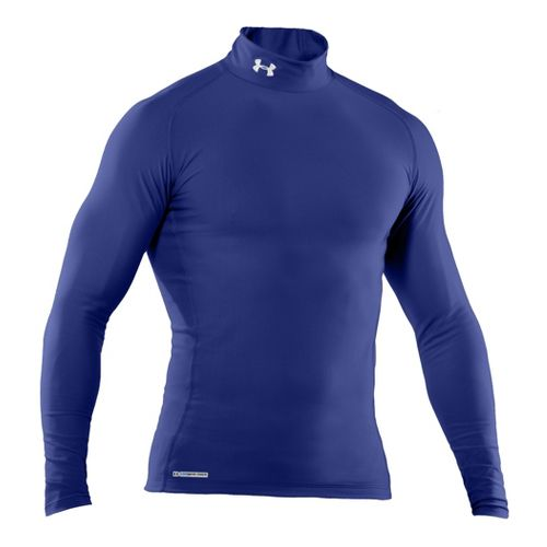 Mens Under Armour EVO Coldgear Compression Mock Long Sleeve No Zip Technical Tops - Royal/Royal ...