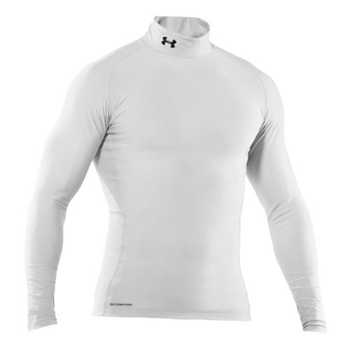 Mens Under Armour EVO Coldgear Compression Mock Long Sleeve No Zip Technical Tops - White/White ...