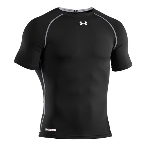 Mens Under Armour Heatgear Sonic Compression T Short Sleeve Technical Tops - Black/White 5XL