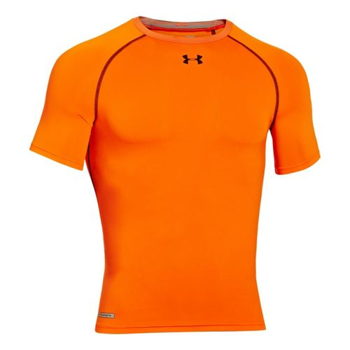 Mens Under Armour Heatgear Sonic Compression T Short Sleeve Technical Tops - Blaze Orange/Black ...