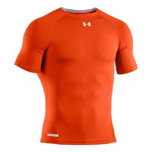 Mens Under Armour Heatgear Sonic Compression T Short Sleeve Technical Tops - Dark Orange/White ...