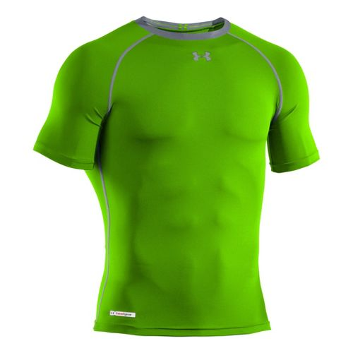 Mens Under Armour Heatgear Sonic Compression T Short Sleeve Technical Tops - Hyper Green/Black ...