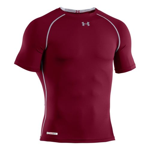 Mens Under Armour Heatgear Sonic Compression T Short Sleeve Technical Tops - Maroon/Steel M