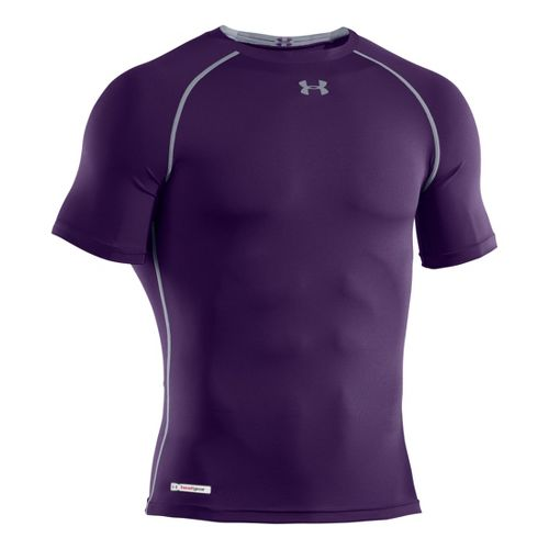 Mens Under Armour Heatgear Sonic Compression T Short Sleeve Technical Tops - Purple/Steel 5XL