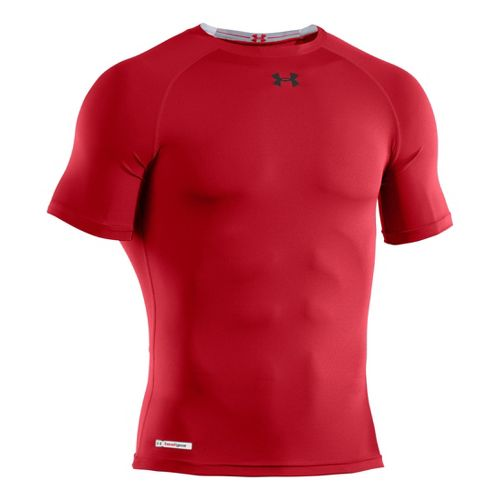Mens Under Armour Heatgear Sonic Compression T Short Sleeve Technical Tops - Red/Black L