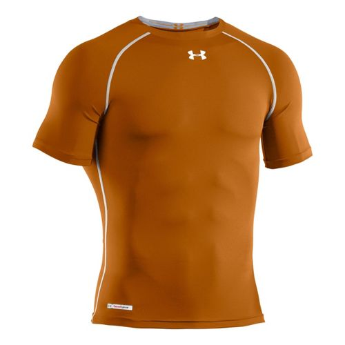Mens Under Armour Heatgear Sonic Compression T Short Sleeve Technical Tops - Texas Orange/White ...