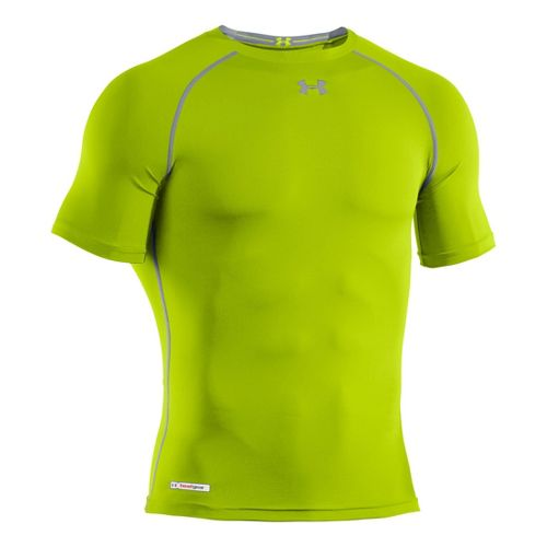 Mens Under Armour Heatgear Sonic Compression T Short Sleeve Technical Tops - Velocity/Steel XXL