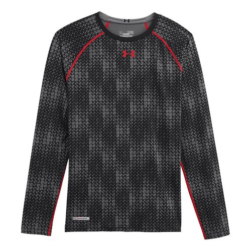Mens Under Armour Heatgear Sonic Compression T Long Sleeve No Zip Technical Tops - Black/Risk ...