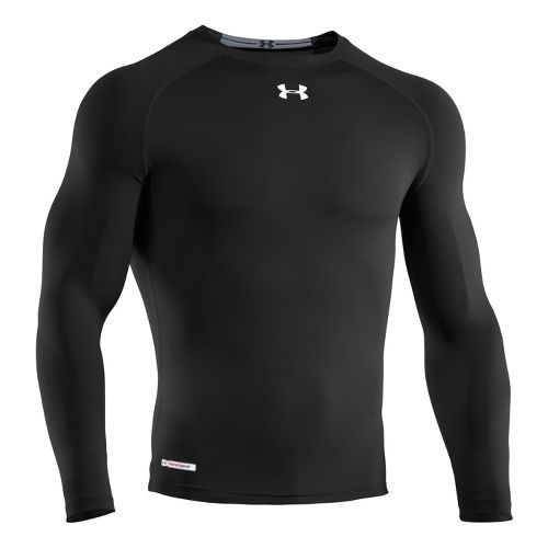 Mens Under Armour Heatgear Sonic Compression T Long Sleeve No Zip Technical Tops - Black/White ...