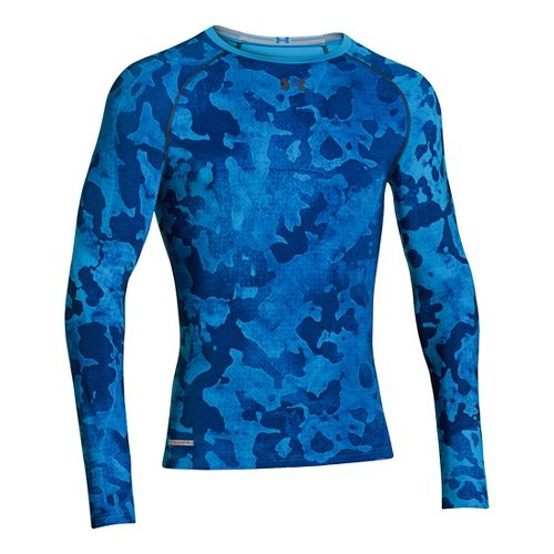 Mens Under Armour Heatgear Sonic Compression T Long Sleeve No Zip Technical Tops - Electric ...