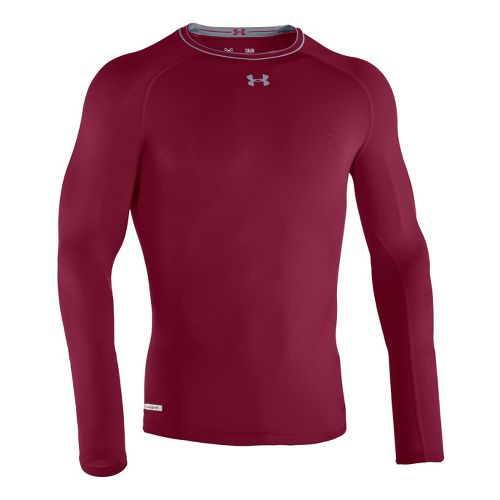 Mens Under Armour Heatgear Sonic Compression T Long Sleeve No Zip Technical Tops - Maroon/Steel ...