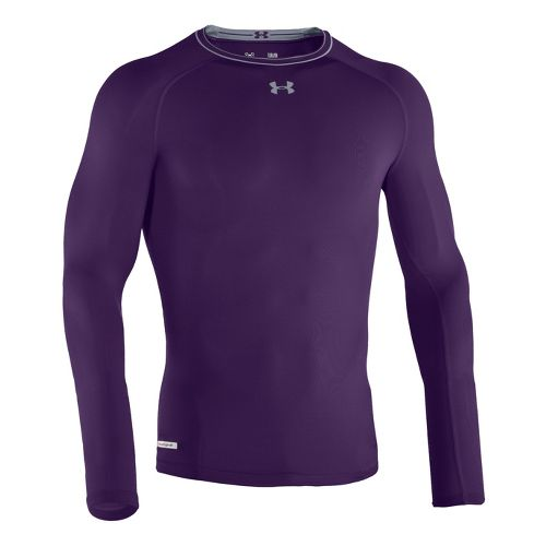 Mens Under Armour Heatgear Sonic Compression T Long Sleeve No Zip Technical Tops - Purple/Steel ...