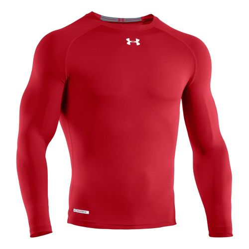 Mens Under Armour Heatgear Sonic Compression T Long Sleeve No Zip Technical Tops - Red/White ...