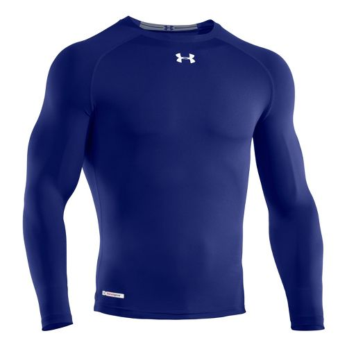 Mens Under Armour Heatgear Sonic Compression T Long Sleeve No Zip Technical Tops - Royal/White ...