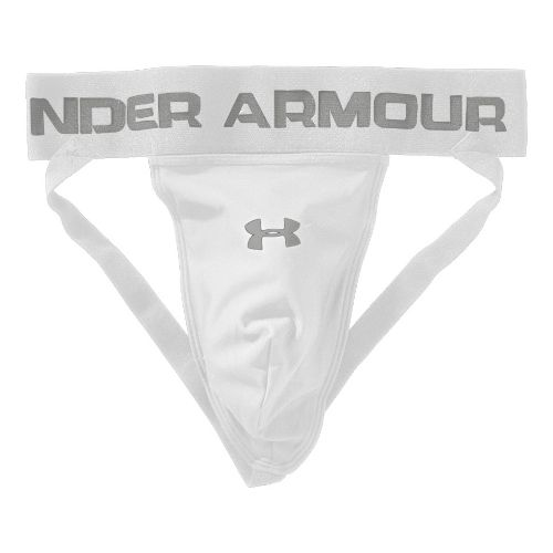 Mens Under Armour Performance Jock with Cup Pocket Jock Underwear Bottoms - White/Silver XL