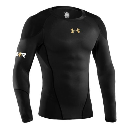 Mens Under Armour Recharge Energy Shirt Long Sleeve No Zip Technical Tops - Black/Graphite L ...