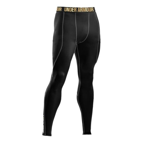 Mens Under Armour Recharge Energy Legging Fitted Tights - Black/Metallic Gold 4X