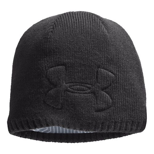 Mens Under Armour ColdGear Infrared Hardpack Beanie Headwear - Charcoal